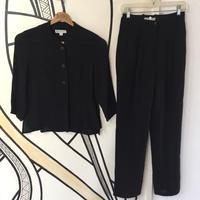 【モード】ヴィンテージ ブラック ノーカラーシャツ&スラックス セットアップ
