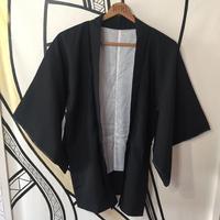 【KIMONO】ヴィンテージ ブルー刺繍ブラック着物羽織ガウン