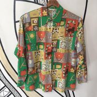 【個性的】レトロ POPデザイン 日本製 ポリエステル 柄シャツ