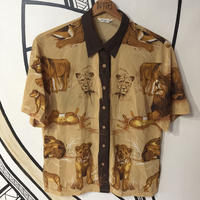 【スペシャル】ライオン 総柄 シースルー 日本製 柄シャツ