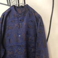 【個性】チェスト建造物デザイン刺繍スタンドカラージャージシャツ