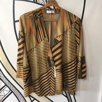 【未使用】幾何学模様 デザイン 日本製 柄シャツ ジャケット