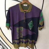 【個性的】サイケデリック柄 ニットポロシャツ