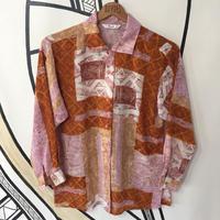 【個性的】レトロ ランダム デザイン シースルー 日本製 柄シャツ