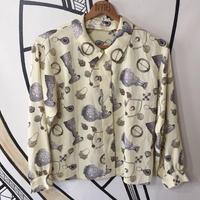 【奇抜】ヴィンテージ レトロ 宝石 総柄 デザイン 柄シャツ