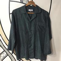 【奇抜】幾何学模様 グリーンシルクルーム柄シャツ