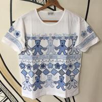 【個性的】レトロ ベア オーナメント 刺繍 ホワイト ビッグTシャツ