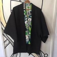 【KIMONO】ヴィンテージ 虎刺繍 ブラック 着物 羽織 ガウン