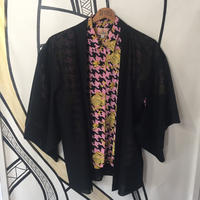 【KIMONO】ヴィンテージ メッシュ ブラック 着物 羽織 ガウン