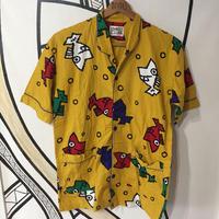 【一点物】レトロ魚総柄 イエロー パジャマシャツ