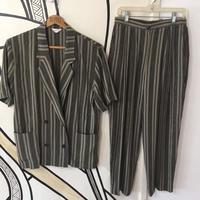 【奇抜】ヴィンテージ ストライプ 柄シャツ パンツ セットアップ