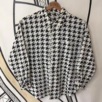 【モノクロ】ビッグ 千鳥格子 日本製 柄シャツ