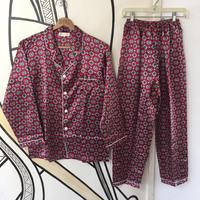 【奇抜】チャイナ レトロ サテン生地 パジャマ セットアップ