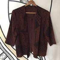 【変形】ブラウン レトロ デザイン ダブル 柄シャツ