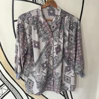 【派手】幾何学模様 ペイズリー グレー&ピンク 開襟 柄シャツ