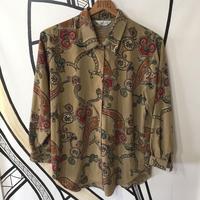 【日本製】ヴィンテージ ペイズリー チェーン ブラウン 柄シャツ