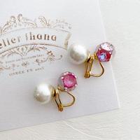 [即納]キャンディプチジュエル&コットンパールのイヤリング(ピンク)