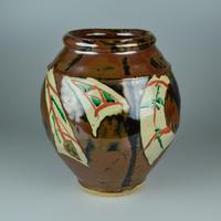 浜田 庄司 柿釉赤絵花瓶     【お問い合わせ商品】