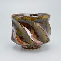 河井 透 鉄釉面取筒茶碗