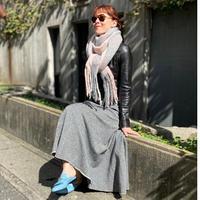check fringe scarf (gray✖pink)