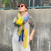 check  fringe scarf(multi color yellow)