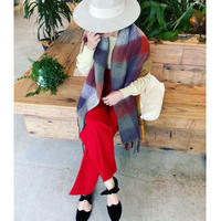 check fringe  scarf(multi color orange)