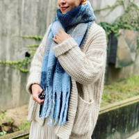 check fringe scarf(Light blue)
