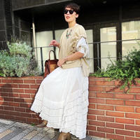 cotton tiered long skirt