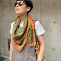 cotton scarf  IKAT(Lime green✖Yellow)