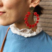 Flower Circle Earrings (RED)
