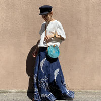 Large Waistband Maxi Skirt ( Navy )