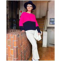 bicolor  deformed sweater(PINK✖NAVY)