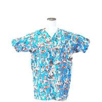 女性用 No.5509 ブル犬(ブルー)  医療用、介護用スクラブシャツ