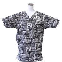 男性用  No.3272L  医療用、介護用スクラブシャツ  No.3272 ハワイアン車・サーフボード・ウクレレ(ブラック)
