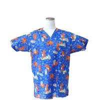 女性用 No.5553 猫・トイレットペーパ(ブルー )   医療用、介護用スクラブシャツ