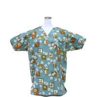 男性用No.3223 M  医療用、介護用スクラブシャツ No.3223 ハワイアンアロハタワー白花(グリーン)