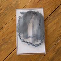 ビーズ&リボン ネックレス(br2/gray)
