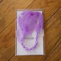 ビーズ&リボン ネックレス(br13/S.purple)