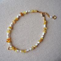 スクエアモチーフ付き天然石ブレスレット(yellow)