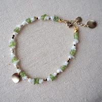 まんまるモチーフ付き天然石ブレスレット(green)