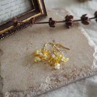 【Lagomt】天然石のシャンデリアピアス Yellow(イエローオパール×ムーンストーン)