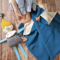 【rokka design】Hemp/muslin baby blanket - Blue