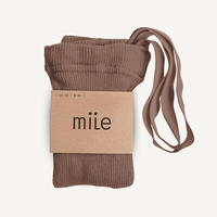 【mile】cotton tights with braces/brown