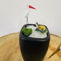 鶴と亀の石庭(黒) O-04