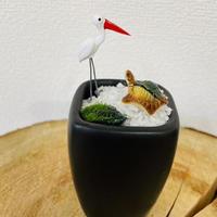 鶴と亀の石庭(黒) O-03