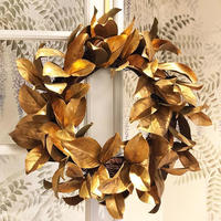 MAGNOLIA LEAF WREATH (GOLD/BROWN) クリスマスリース