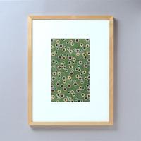 ●一点もの● 型染め額装 花柄小紋(緑)