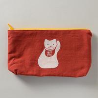 型染めポーチ 招き猫