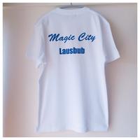バックプリントTシャツ  ホワイト×ブルー