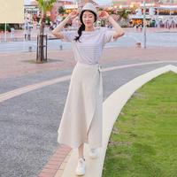 【取り寄せ品】ハイウエスト 無地 ラップデザイン シンプル ロングスカート